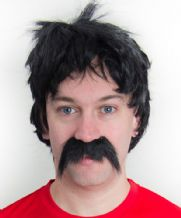 Ian Rush / Grobbelaar Wig and Moustache Football Fancy Dress